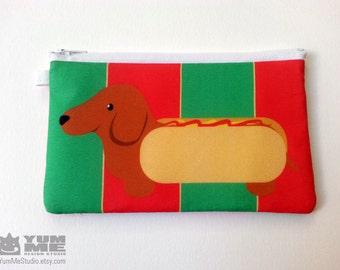 Dachshund Hot Dog Zipper Bag (Made to Order)