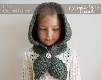 Crochet Pattern: The Hannah Hood -Toddler, Child, Adult, Sizes- hood, ascot, button, matryoshka, head scarf, fall, back to school