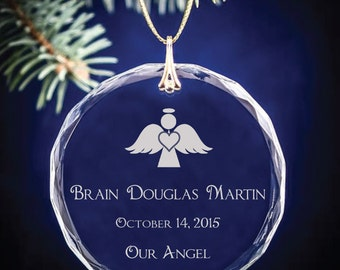Our Angel Memorial Personalized Engraved Round Crystal Ornament