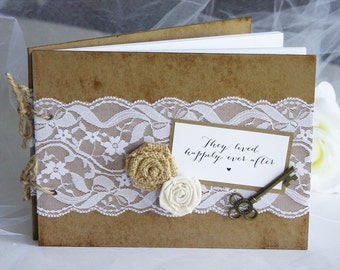 Rustic Lace Burlap Wedding Guest Book, Rustic Guest Book, Rustic Wedding Guest Book, Rustic Wedding, Lace Wedding
