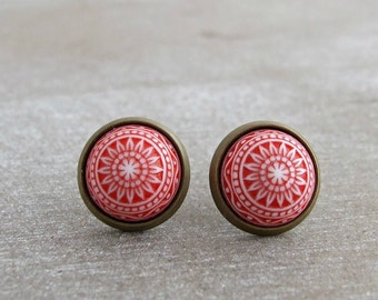 Red Mosaic Earrings  .. mosaic studs, Moroccan earrings, small studs, red white post earrings