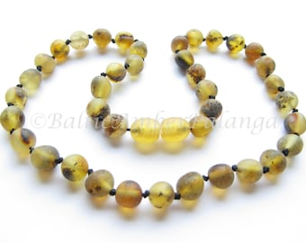 Baltic Amber Teething Necklace, Raw Unpolished Light Green Beads