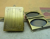 2 pcs 28x36mm antique bronze copper filled filigree brass books rectangle photo lockets charms pendants fc93174