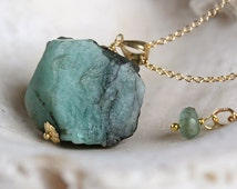 Raw Emerald Necklace -  May Birthstone Necklace  - Natural Stone Necklace