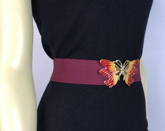 Vintage Belt 80s Stretchy Butterfly Buckle Burgundy & Gold Adjustable Band small to medium