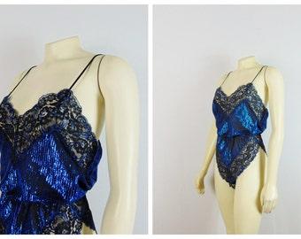 Vintage Teddy Lingerie 70s 80s Shimmering Blue & Black Lace Romper Teddy Nylon Satin