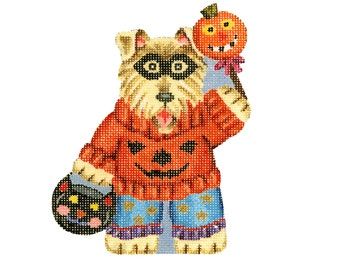 Needlepoint Handpainted Canvas Halloween - Dog in Pumpkin Sweater