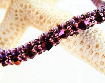 Stunning Handmade Beaded Amethyst Crystal Bangle Bracelet with Violet, Dark Rose and Purple Accents