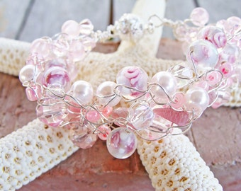Pink Crystal Beads, Pink Coral Chips,  Pink Pearls, Crystal Rondelles, Clear Crystal and Pink Tulip  Handmade Beaded Wire Crochet Necklace