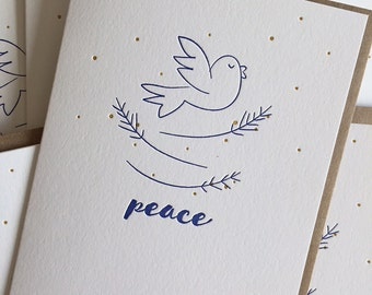 Holiday Cards - Letterpress Holiday Card Set  - Set of 6 - Peace - letterpresss Hand drawn illustration - Dove - Peace Holiday Card