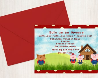 Three Little Pigs Birthday Invitation - Birthday Party - Birthday Party Invitation - Birthday Invites - 3 Little Pigs Party Invitations