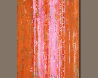 abstract art, abstract painting, large painting, original art, pink and orange painting, minimalist art, modern art, 30x40