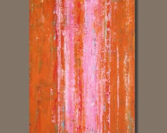 FREE SHIP large abstract art, abstract painting, modern art, minimalist, minimalism, pink and orange painting, stripes, wall art on canvas,