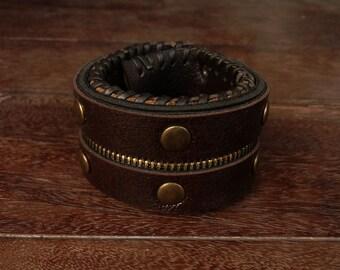Rustic Zipper Leather Cuff Bracelet // Steampunk // Brown // Stud