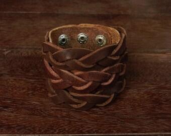 Rustic  Plait Leather Cuff Bracelet //  Unisex // cow hide // Gladiator // industrial // Braided // westren //  country // gladiator