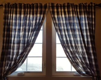 Black White Buffalo Plaid Curtain Panels or Valance
