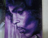Canvas Print / Prince Purple Toned Piano And A Microphone Portrait Painting