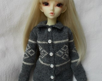 handmade outfit, nordic cardigan for bjd MSD, minifee, but available for SD, feeple and for other dolls....