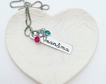 Personalized Grandmother Necklace - Hand Stamped Birthstone Necklace  Memaw - Grandmother Gift - Hand Stamped Jewelry - Grandmother Necklace