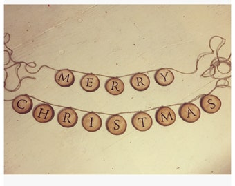 Wood Slice Garland 'Merry Christmas' Banner