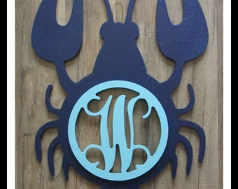 "Lobster Door Hanger with Letter - Painted Wood - 22"" size - Kitchen or Dining Room Decor - Wood Letter - Wall Hanging - Monogram"