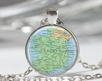 Ireland Necklace  Map Jewelry Genealogy Necklace Home Necklace Ireland Jewelry Ireland Keychain Map Necklace