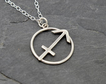 Sagittarius zodiac necklace sterling silver