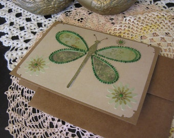 Green Beaded Dragonfly Card
