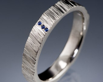 Blue Sapphire Saw Cut Textured Modern Wedding Ring, 4mm Wide in Sterling, Palladium, Platinum, White, Rose or Yellow Gold