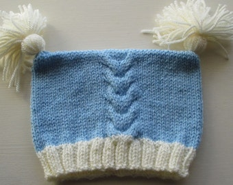 Blue Baby Hat with Contrast Cream Rib and Tassels