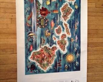 Antique Hawaiian Pineapple Dole Poster Map