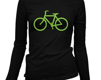 Women's Bike Route Long Sleeve Tee - S M L XL 2x - Ladies' Cycling T-shirt, Bicycle - 4 Colors