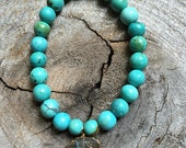 Genuine turquoise and labradorite charm stretch bracelet