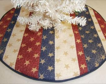 "Patriotic / Fourth of July Mini Tree Skirt ~ 15"" Stripes with Stars"