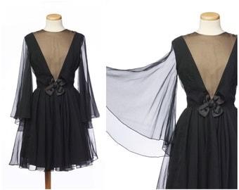 Sheer 60s dress // Vintage Chiffon Illusion Cocktail Dress Flutter Sleeves Anita Modes Medium Black