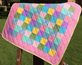 """It's A Scrap Happy Pastel Delight In This 28"""" X 28"""" Preemie or Doll Quilt"""