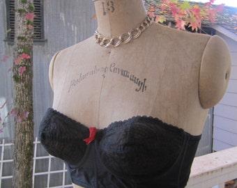 Black Bullet Bra Strapless 50s Underwire By Holly Bra of California