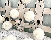 IVORY Pom Pom Garland Yarn Pom Pom Garland - Baby Bridal Shower Garland  Birthday  Wedding  Ivory Pom Pom Decoration  6 Ft.