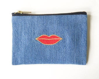 Red Lip Wallet - Hand Crafted from Salvaged Jeans