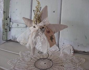 Star Stuffed in Old Bed Spring Camel Tan Suede Cloth Folk Star Grungy Tag Rusty Star Shelf Sitters
