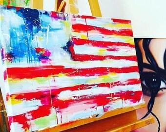 American Flag Abstract Print on Canvas - Contemporary Home Decor - Americana - Beach Home Decor - Lana Moes Art