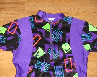 Vintage 1990s Neon Rave Tribal Bicycle Jersey
