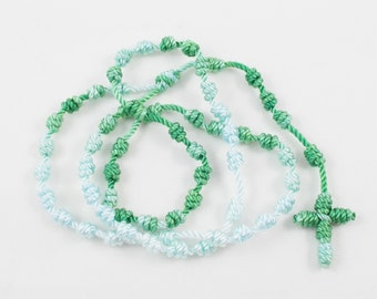 Knotted Cord Rosary Green & White Pocket-Size - Hospital Safe and Great for Small Children - Baptism, Confirmation, First Communion Gift
