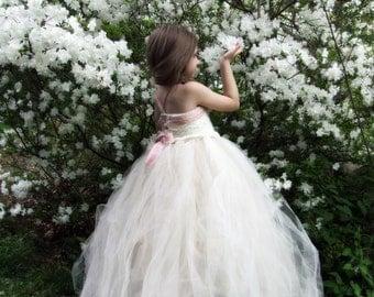 Flower Girl Dress Camellia Lace Velvet and Tulle