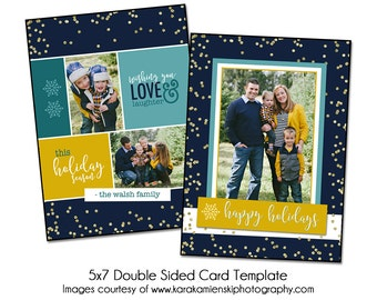 Digital Photsohop Christmas Card Template - CONFETTI SPARKLE - 5x7 Double Sided Card Template