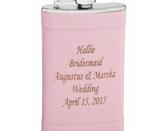 6 ounce Hip Flask - in Soft Pink Wrap -  Personalization included