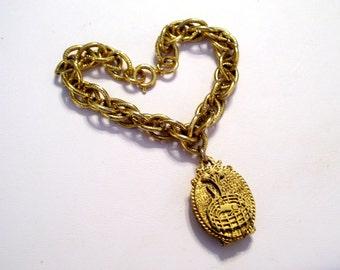Unicorn Locket Bracelet, Vintage Corday Unicorn, Perfume Locket Charm, Unicorn Perfume Locket, Chunky Chain Link Bracelet, Animal Jewelry