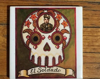 El Soldado (The Soldier) Ceramic Tile Coaster -  Loteria and Day of the Dead skull Dia de los Muertos calavera designs