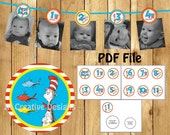 Dr Seuss photo banner Dr Seuss 1 year banner thing one thing two picture banner thing 1 thing 2 12 months cat in the hat birthday party