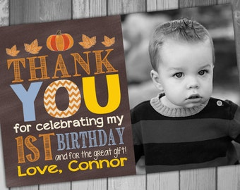Little Pumpkin Thank You Card Birthday Thank You Printable Thank Pumpkin Birthday Rustic Birthday 1st Birthday First Birthday Boy Birthday